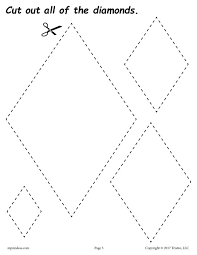 free diamonds cutting worksheet diamonds tracing u0026 coloring page