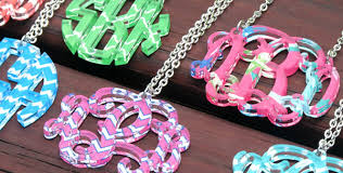 acrylic monogram necklace sandi pointe library of collections
