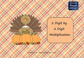 thanksgiving 2 digit by 2 digit multiplication smart board
