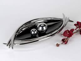 modern decorative dish fruit bowl ceramic black silver 45x20 cm