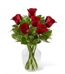 Vase With Roses 6 Red Roses In Vase For The One Send Flowers To China