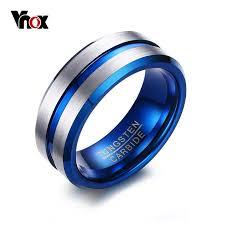 tungsten rings from images Vnox thin blue line tungsten ring wedding brands 8mm tungsten jpg