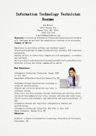 It Technician Resume Sample Information Technology Technician Resume Sample Information