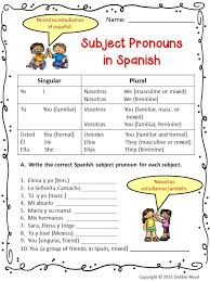 spanish subject pronoun posters and worksheets spanish
