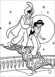 Coloriage de limage de Aladdin et Jasmine au palais
