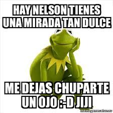 Nelson Meme - meme kermit the frog hay nelson tienes una mirada tan dulce me
