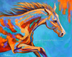 paintings by theresa paden wild horse painting in bright colors