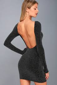 backless dress black and silver dress bodycon dress backless dress