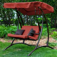 Outdoor Canopy Chair 2 Seat Outdoor Porch Swing With Canopy In Terracotta Red