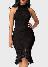 sleeveless navy blue asymmetric hem lace dress liligal com usd