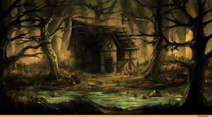 mystical halloween background creepy shack beside a wooded swamp scary creepy forest http