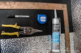 Ceiling Tile Adhesive by Remodelaholic How To Install A Metal Ceiling Tile Backsplash