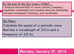 wave formula worksheet