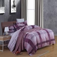 Duvet Cover Sales Modern Plaid Purple Blue Comforter Duvet Cover Set 4pcs 100