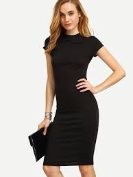 black dress cap sleeve pencil dress shein sheinside
