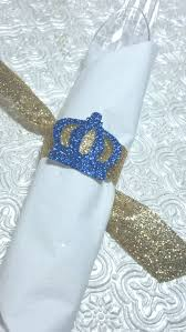 royal little prince crown napkin rings with glitter ribbon