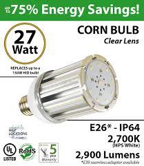 150w led bulb replacement 27 watt corn light 2900lm 2700k ledradiant