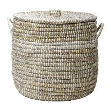 Seagrass Storage Ottoman Belal Laundry Basket Made Of Seagrass Natural And White 50cm
