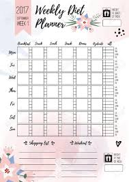 printable meal planner with calorie counter weekly diet planner vector printable page for female notebook