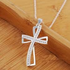 925 sterling silver plated women cross necklace crystal chain