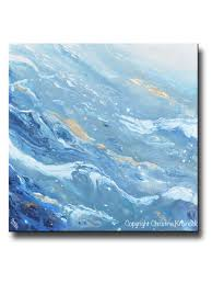 light blue acrylic paint original art blue white navy abstract painting gold leaf marbled