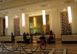 interior contemporary lobby hotel design with long receptionist