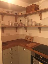 oak open kitchen shelves with wickes green kitchen units