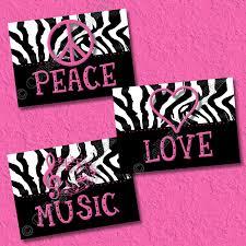 pink zebra print art wall decor peace sign love music