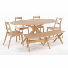 dining room tables bench seating oval unfinished wooden dining table with crossed leg combined with