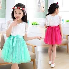 red and lake blue teenage girls dress lace princess pleat dresses