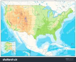 Relief Map Detailed Relief Map Usa No Text Stock Vector 550416763 Shutterstock