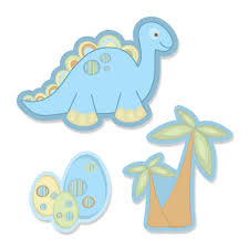 baby boy dinosaur shaped baby shower paper cut outs