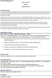 Hobbies And Interests On A Resume Examples by Marketing Manager Cv Example Icover Org Uk