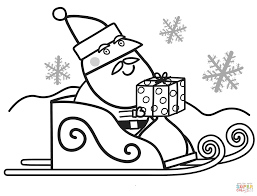 santa with gift box for peppa coloring page free printable