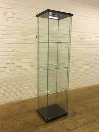 ikea glass display cabinet ikea detolf all glass display cabinet with light fitting and black