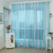 Sheer Blue Curtains Fresh Green Polyester Modern Style Striped Sheer Curtain