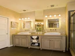 bathroom lighting ideas over mirror white wooden cabinet embedded