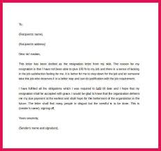 formal letter of resignation sop examples