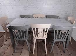 Waxed Pine Dining Table Mesa Y Sillas Pintadas En Blancos Y Grises Autenticochalkpaint Y