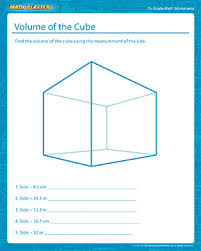volume of a cube fun math worksheets for grade 7 math blaster