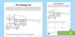 the missing cat position activity sheet mathematics