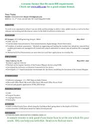 Best Resume Format For Experienced Software Engineers by Sample Resume For Engineering Freshers