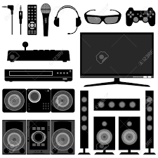 Living Room Clipart Black And White Audio Visual System Electronic Electrical Appliances For Living