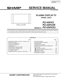 sharp pz 43hv2 service manual