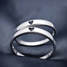 matching rings simple style heart to heart 925 silver couples matching promise