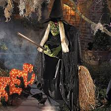 Cheap Outdoor Halloween Decorations by Animated Flying Witch Halloween Prop Haunted House Outdoor