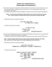 impulse momentum worksheet 3 name perioddate