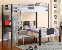Beach Silver Gray Metal Twin Loft Bunk Bed With Lower Twin Bed - Twin loft bunk bed