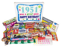 birthday baskets 1951 66th birthday gift box of retro candy from