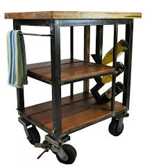 napa kitchen cart made from reclaimed butcher block and steel